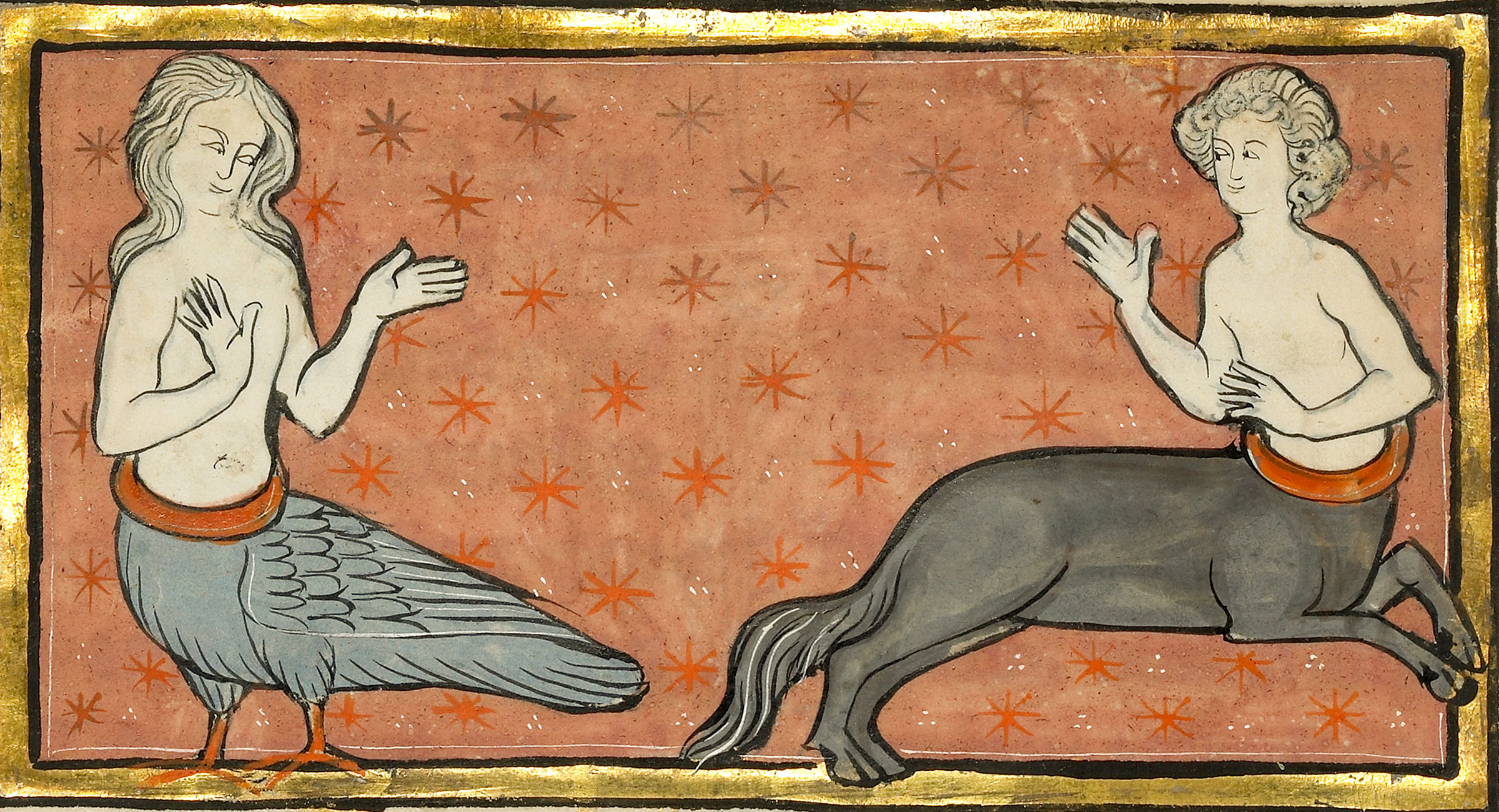 A Siren and a Centaur, two chimeras of Greek myth, in an illustration from the fourth quarter of the 13th century from the region of Flanders. Getty Research Institute/Science Source