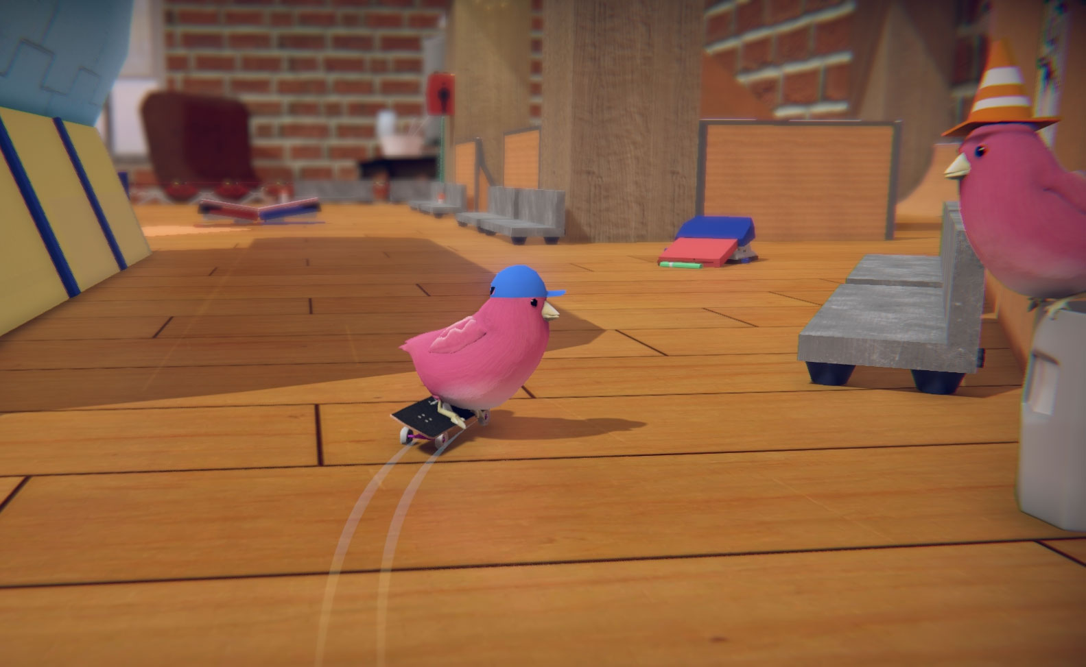 Skater birds don't lean; they tip with style. Screenshot: Courtesy of Glass Bottom Games