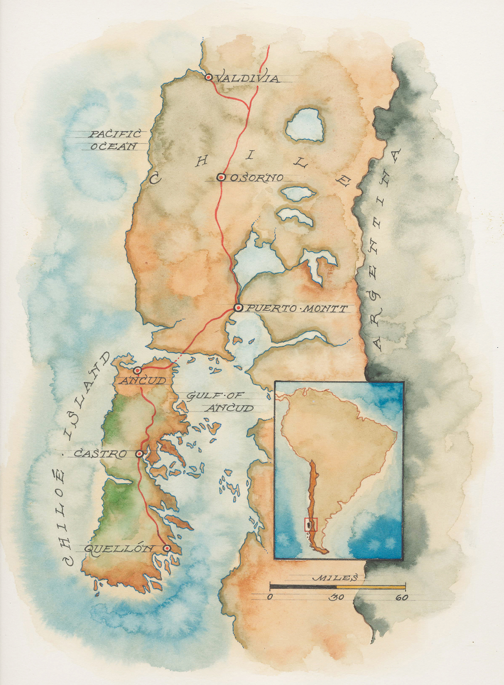 Map of Chile and Chiloé Island: Mike Reagan