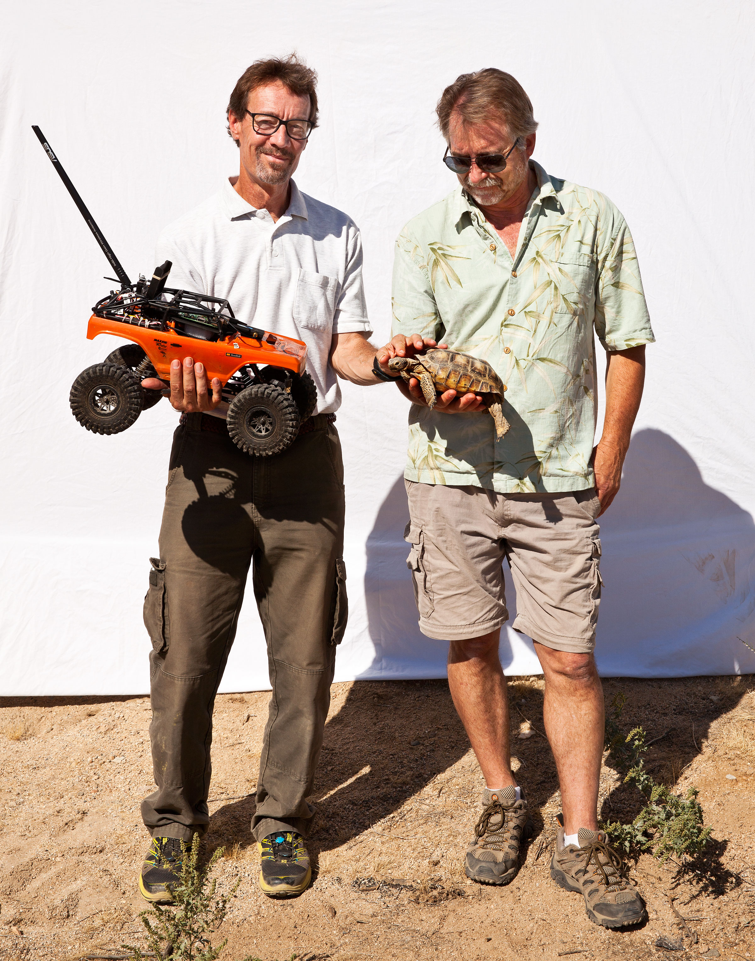 Rover developers Roy Haggard and Chris Smith with their creation and a captive tortoise. Tom Fowlks