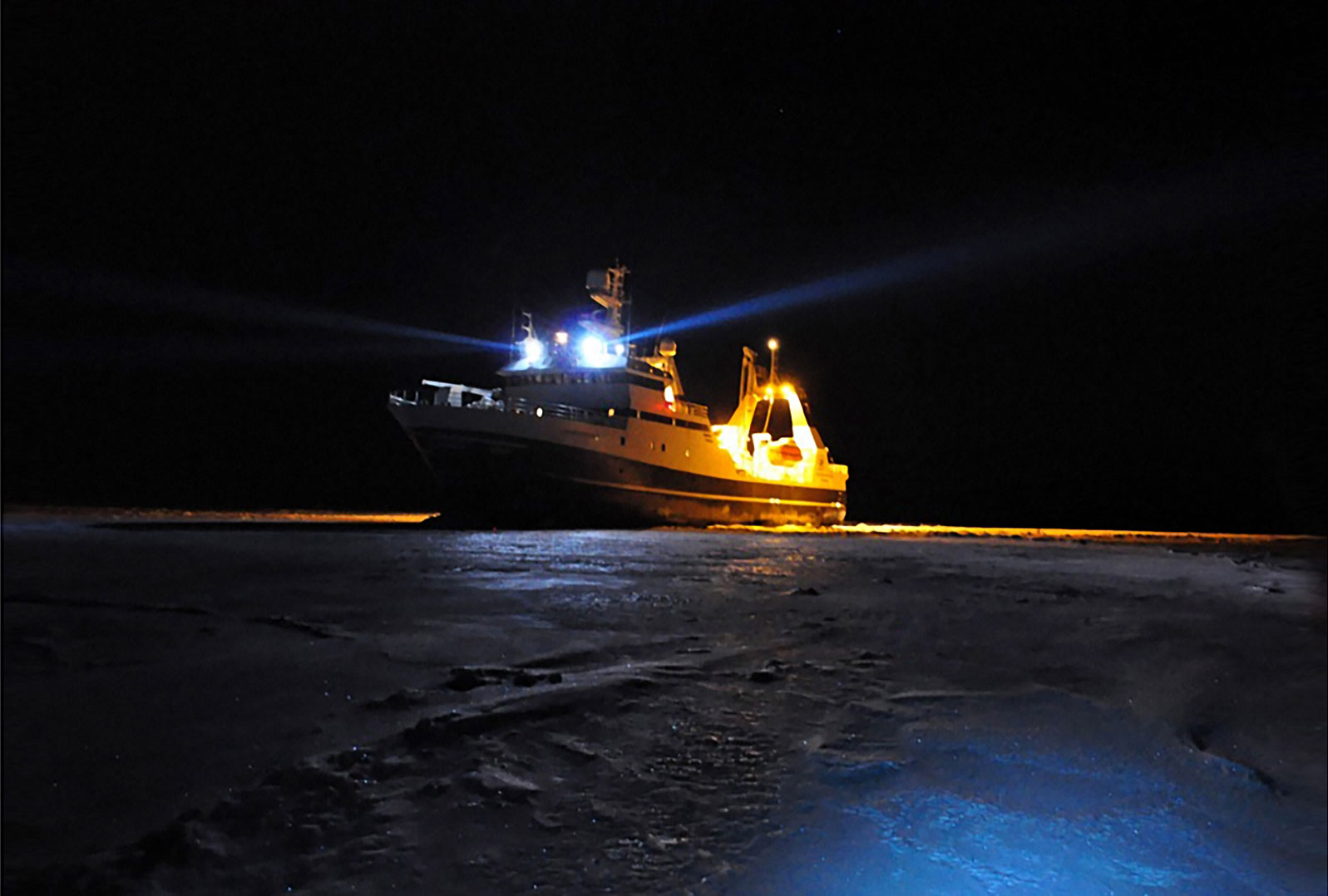 Researchers aboard the Helmer  Hanssen (opposite) often pulled all-nighters in search of life in the frigid waters of the high north. NTNU