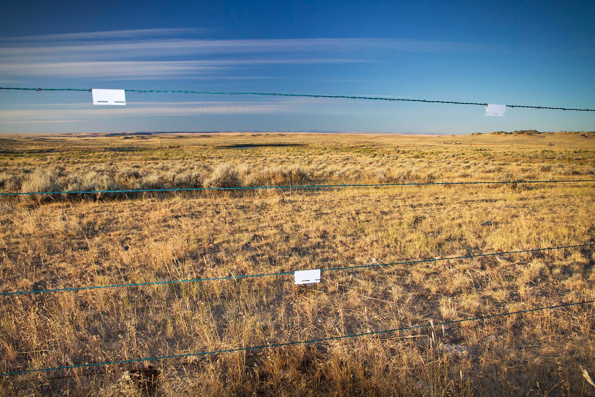 Clip-on plastic reflective fence markers help alert sage-grouse to the fence's presence. Jeremy R. Roberts/Conservation Media/U.S. Department of Agriculture