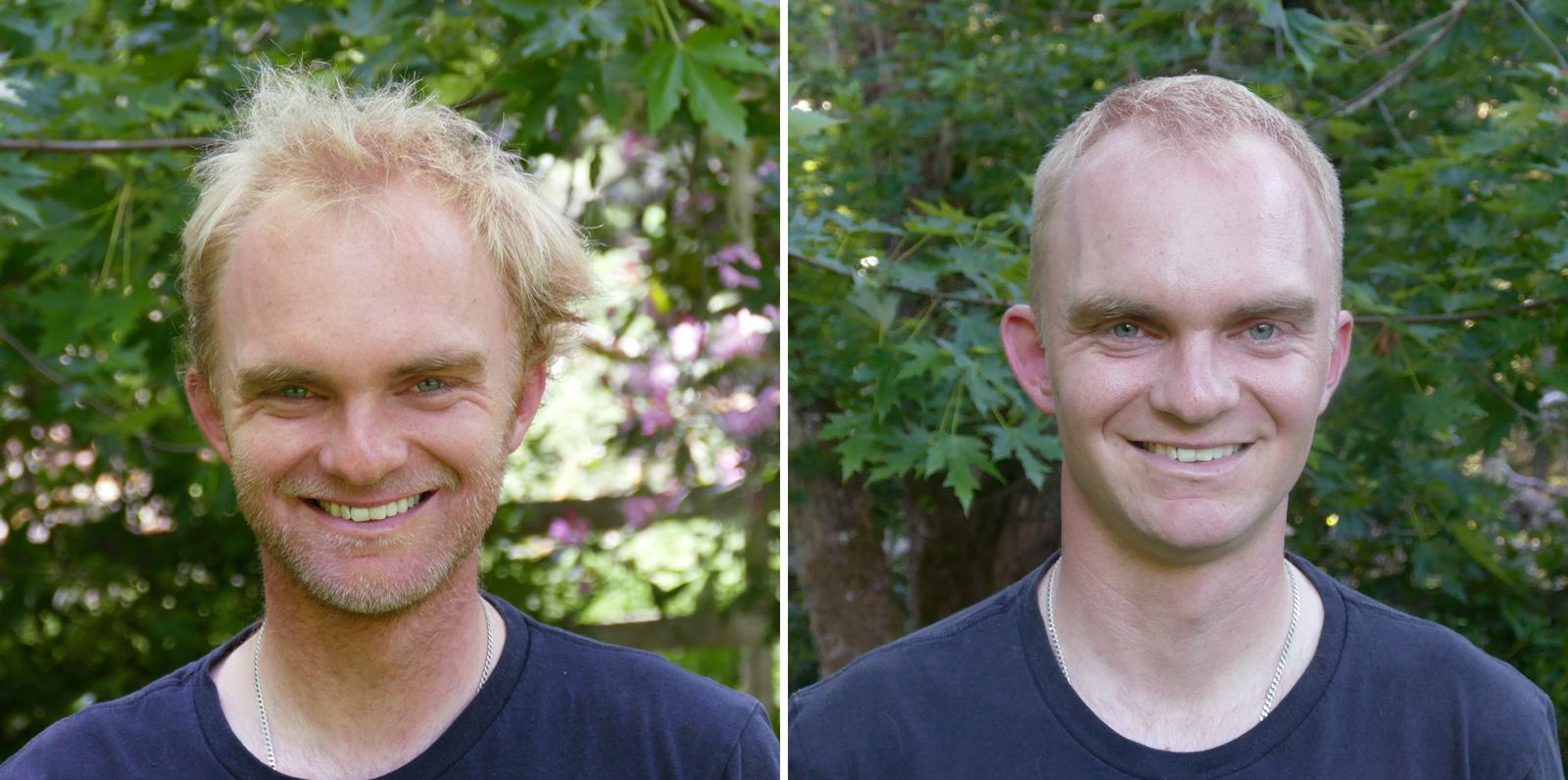 Before and after a 2,687-bird haircut! Noah Strycker