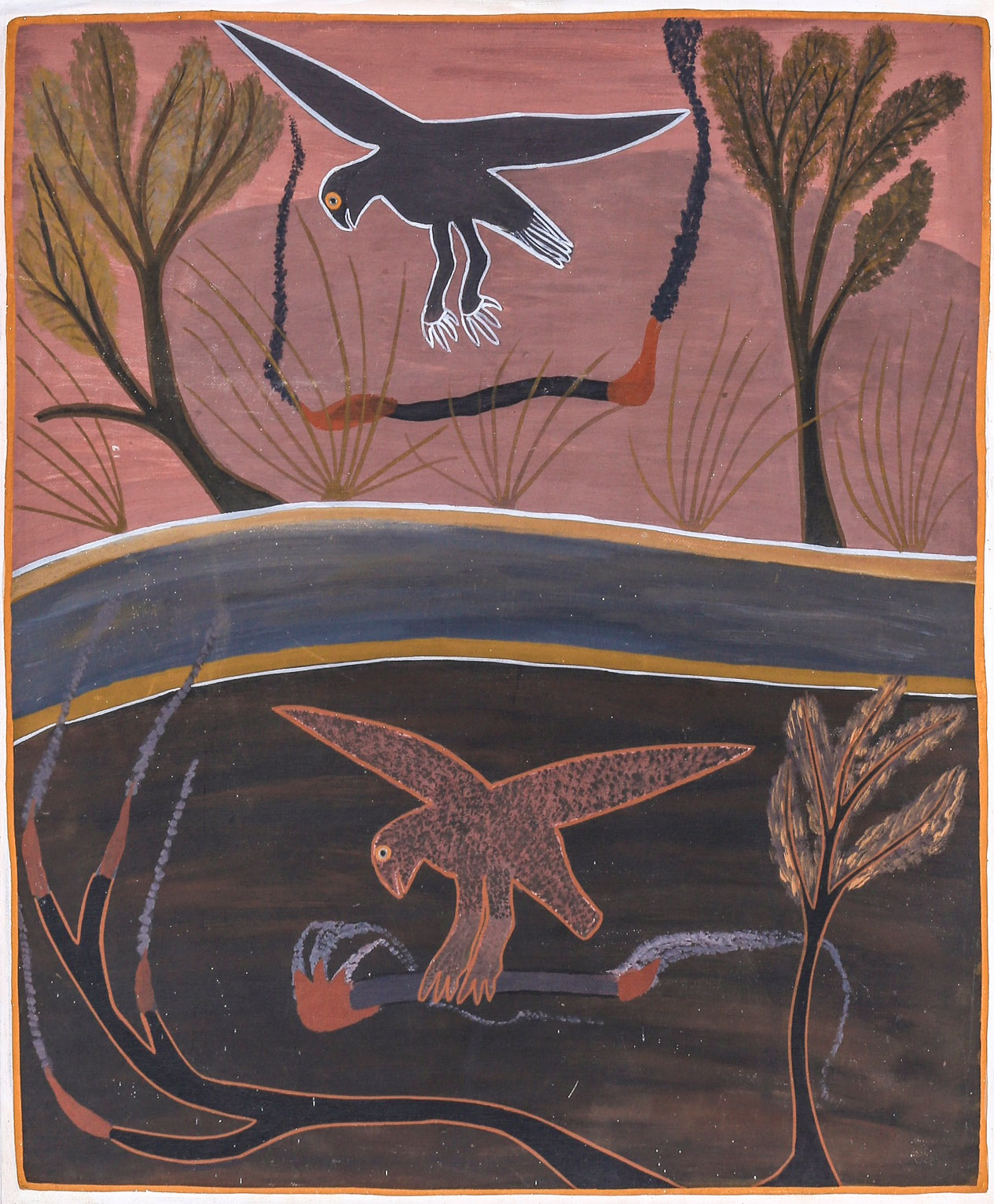 """Aboriginal drawing of the """"Karrkkanj"""" (local name for the Brown Falcon) depicts the bird carrying fire sticks to unburnt ground. Painting: Billy Yalawanga"""