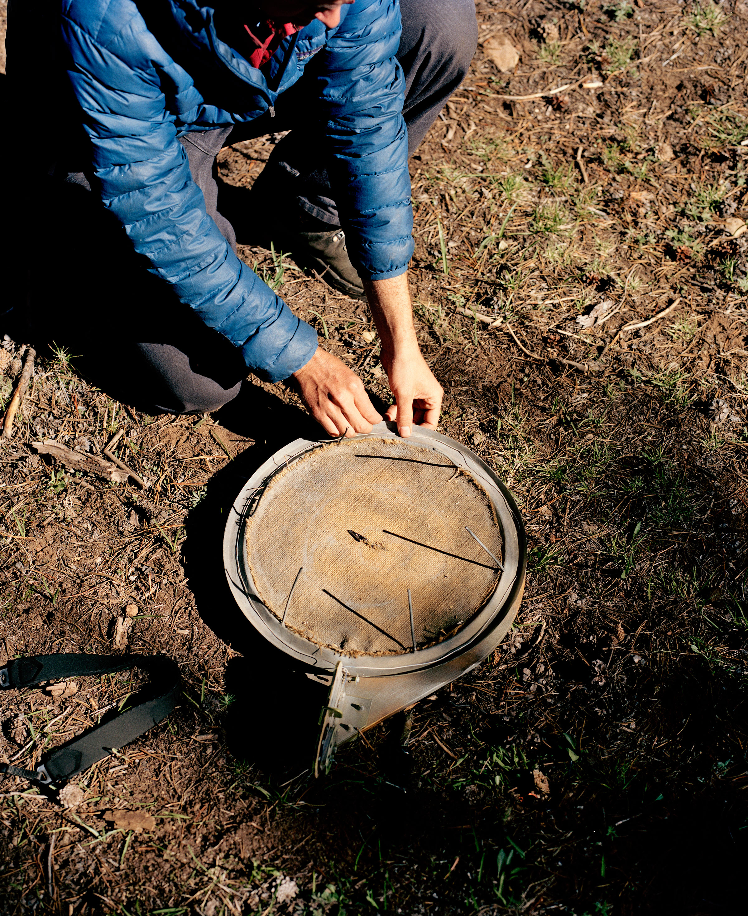 A pan trap used to catch owls for banding. Jake Stangel