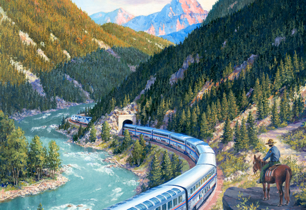 The Empire Builder in Glacier National Park. Painting by J. Craig Thorpe