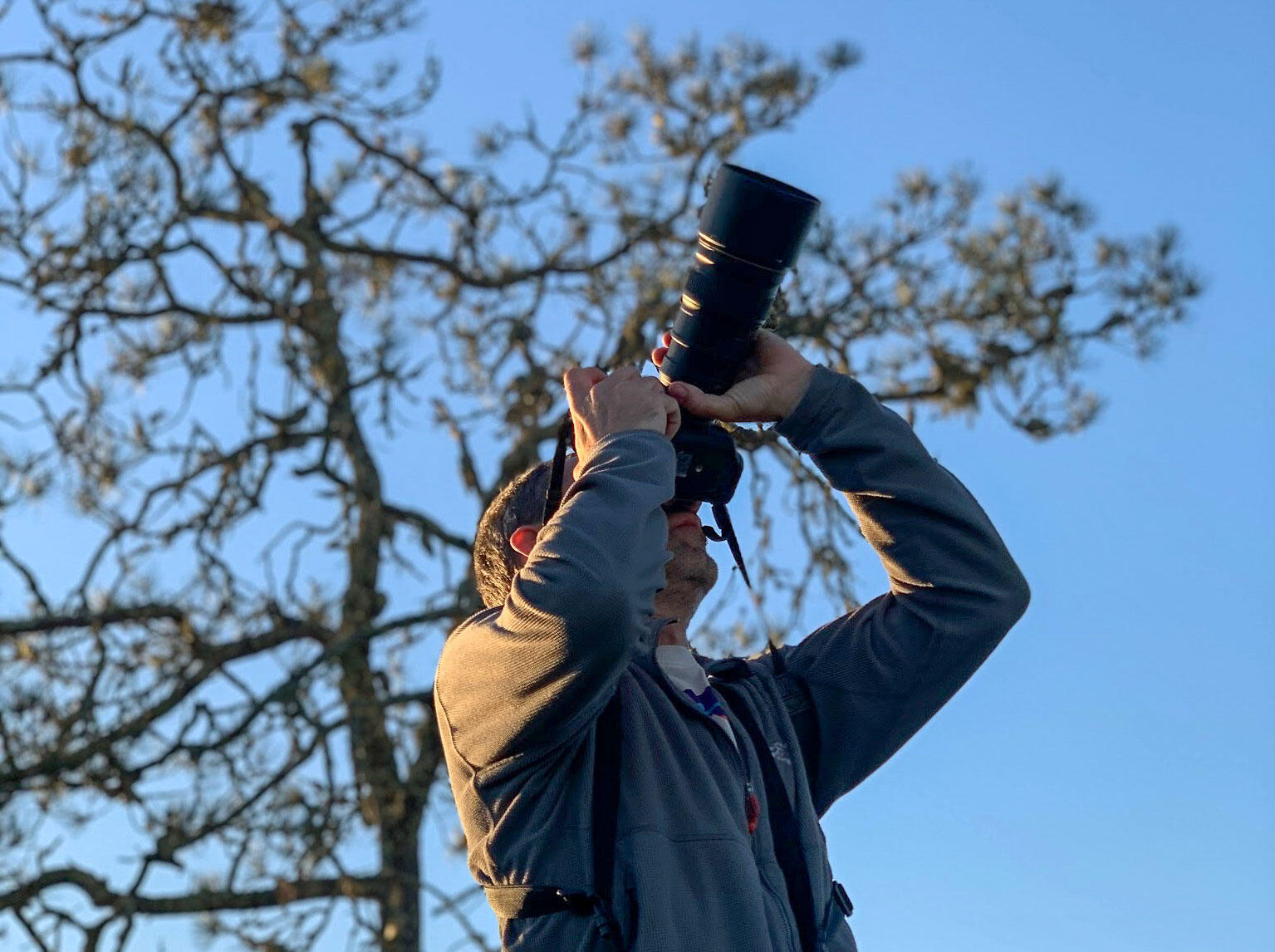 Charlie Bostwick birding in Henry Cowell Redwoods State Park, California this year. Courtesy of Charlie Bostwick