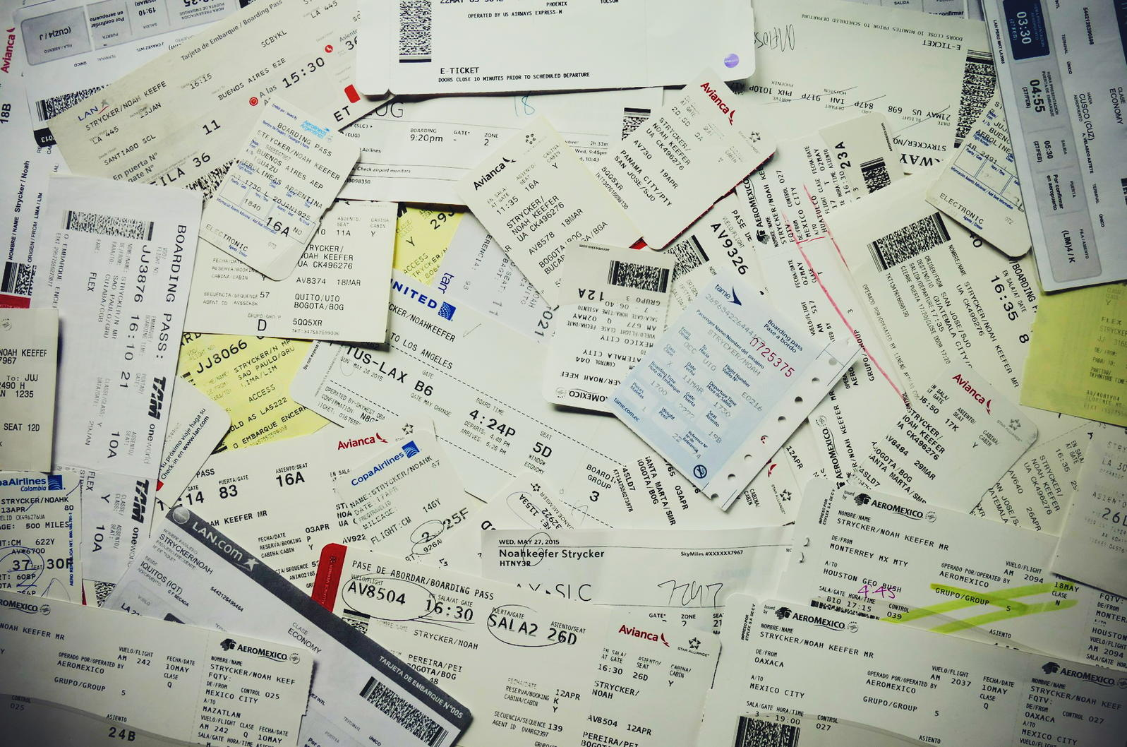 Noah's boarding passes from the first five months of the year. Noah Strycker