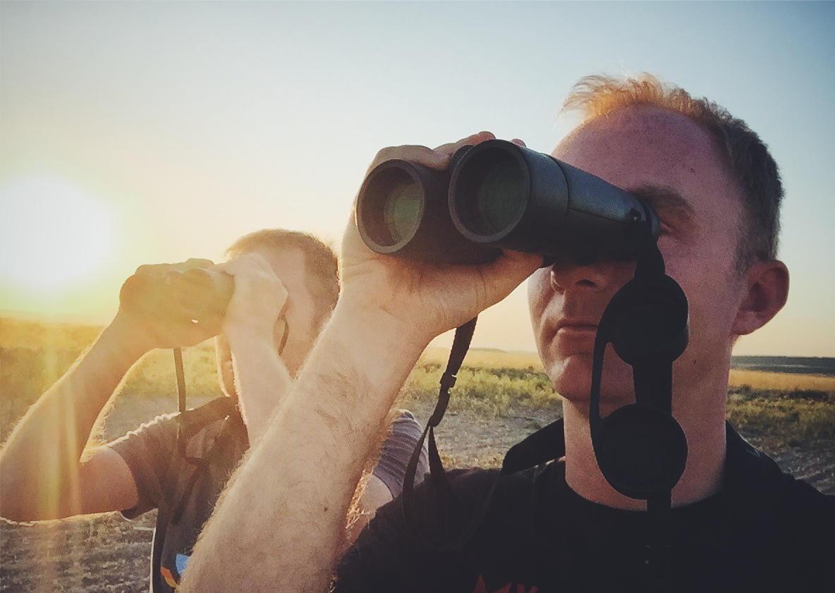 Gorka and Noah look for Dupont's Larks at sunrise. Noah Strycker
