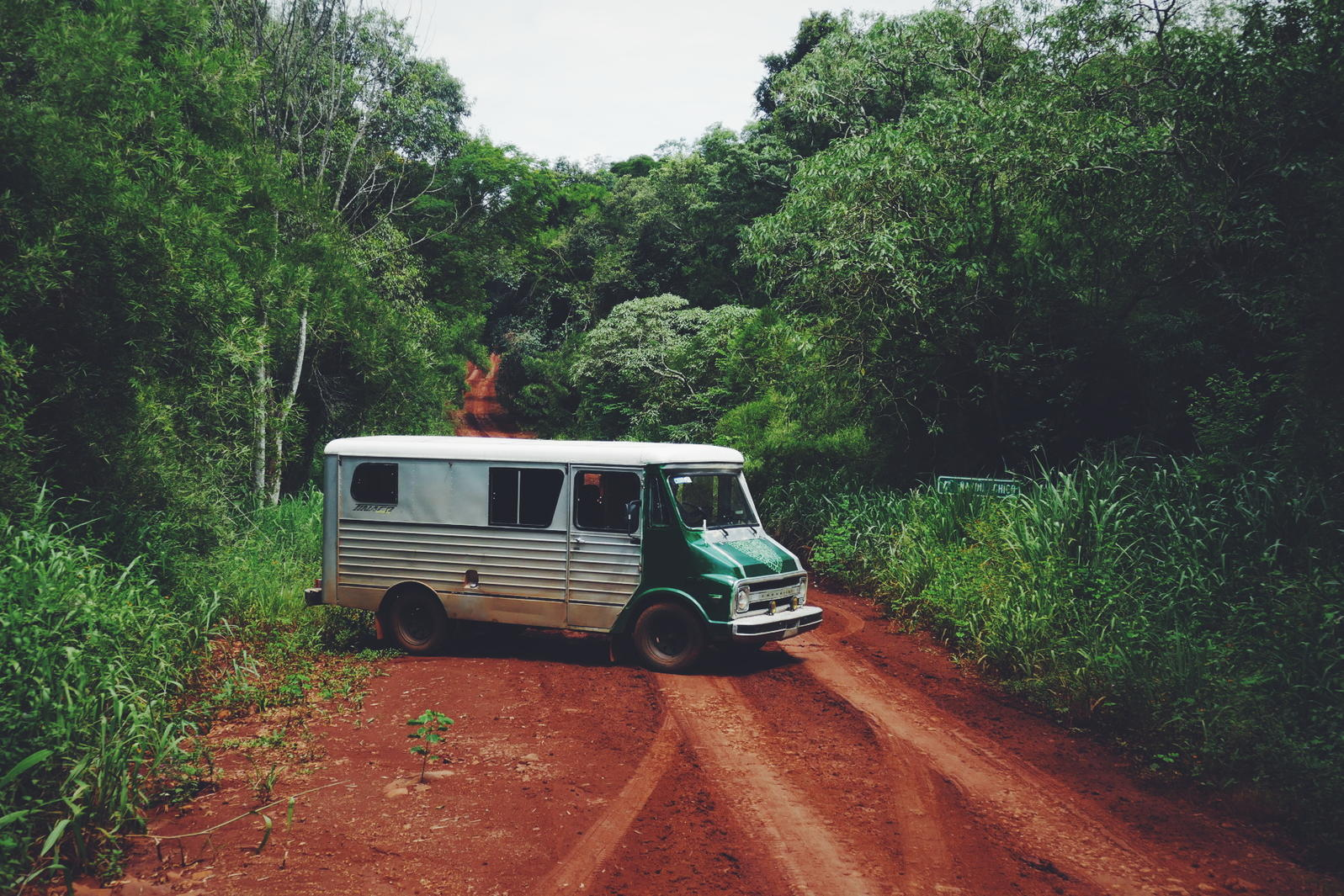 Guy Cox's 1974 Chevy camper van, which he just acquired a month or so ago, is our transportation for the next several days. Credit: Noah Strycker
