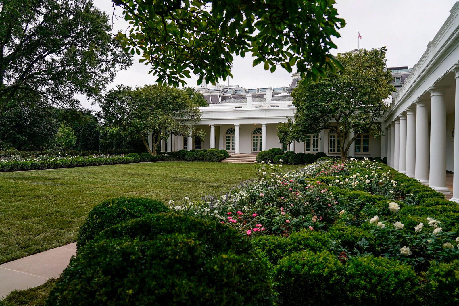 Newly renovated White House Rose Garden, Washington, D.C. August 2020. Erin Scott/Reuters/Alamy