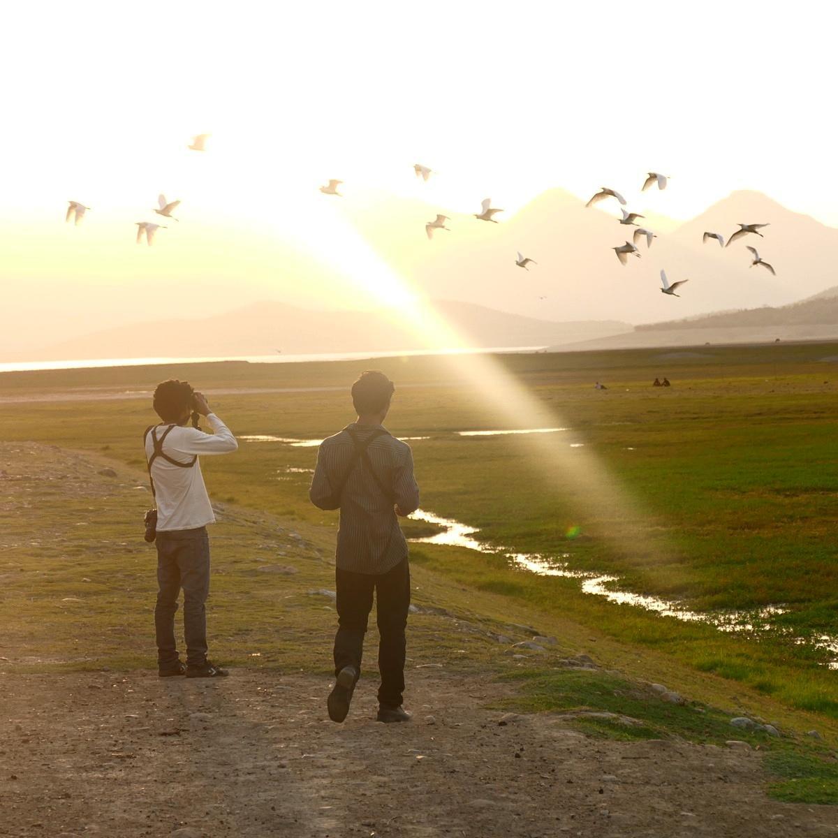 Carlos and Juan watch egrets fly at sunset near Chaparri park in northwest Peru. Noah Strycker