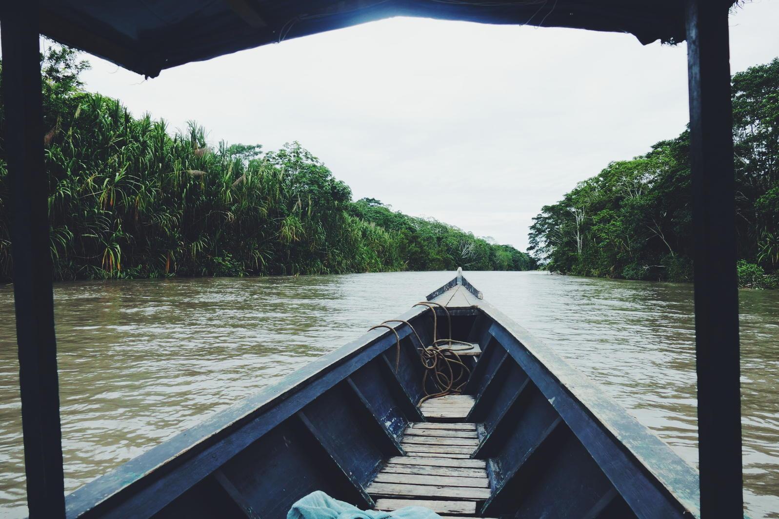 Heading up the Madre de Dios River in southeast Peru. Noah Strycker