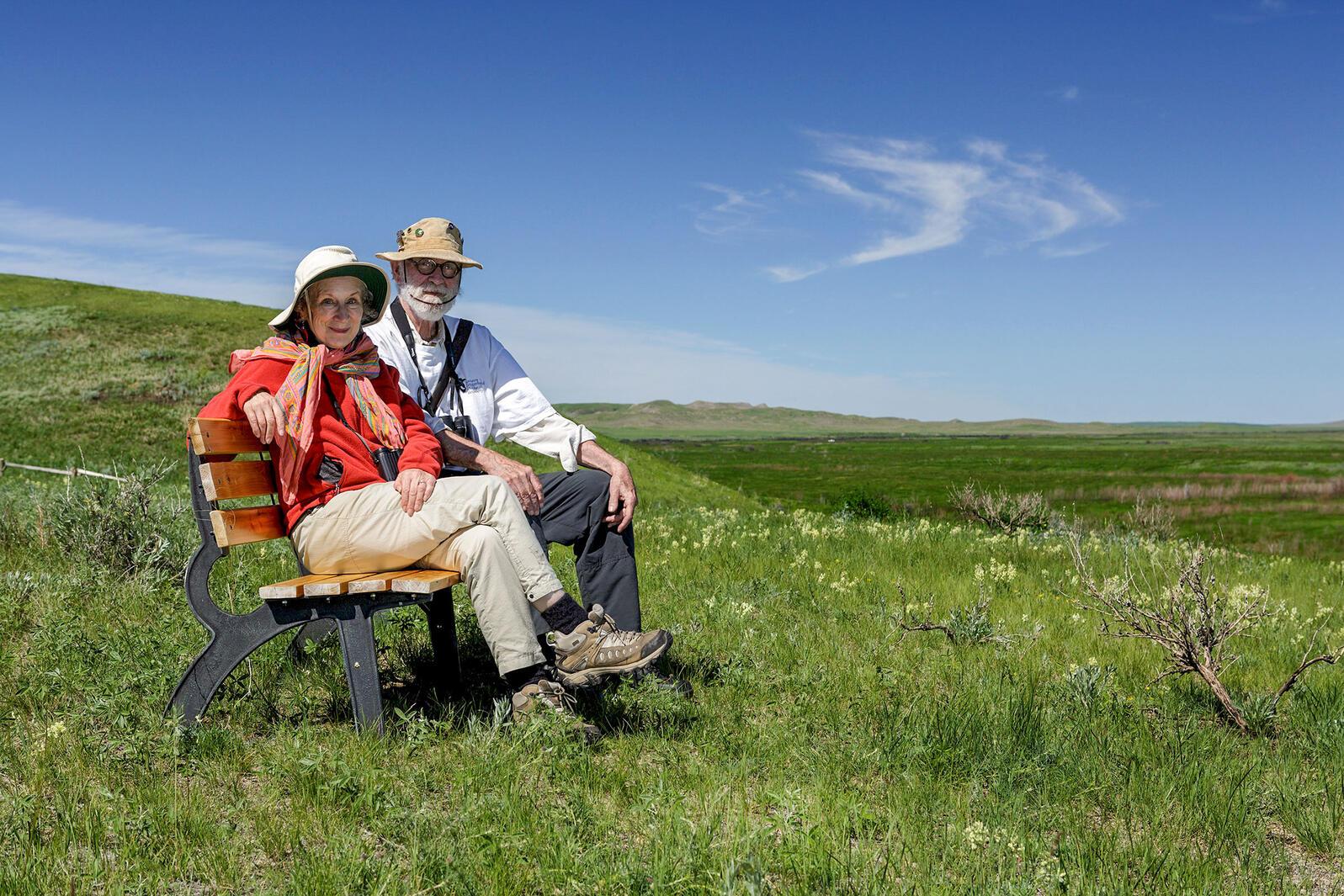 Margaret Atwood and Graeme Gibson in Grasslands National Park, Saskatchewan. Branimir Gjetvaj