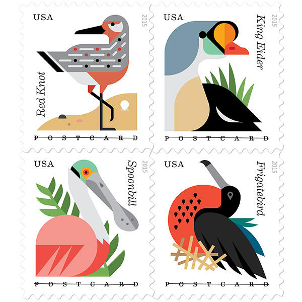 The new set of Coastal Birds stamps