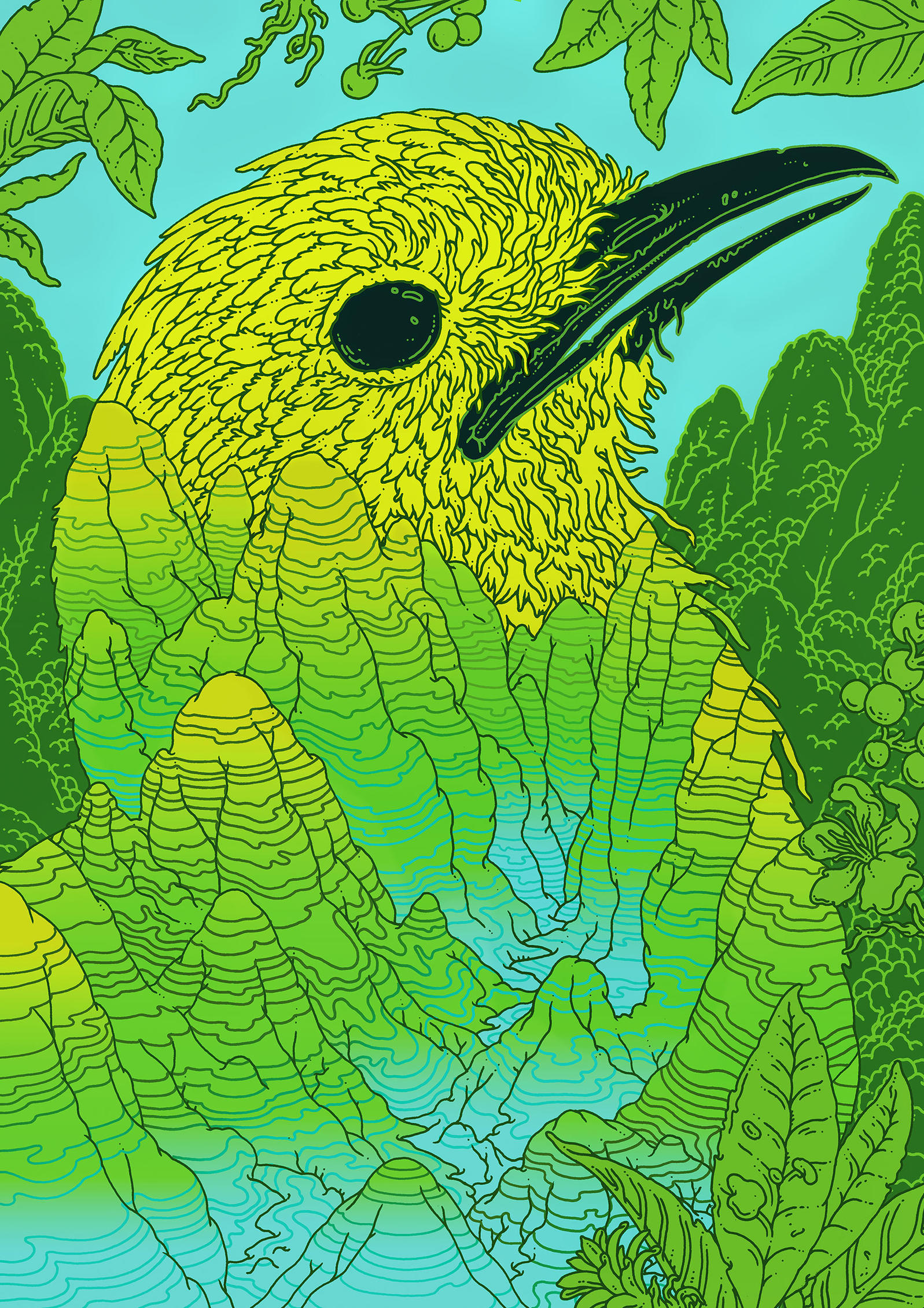"""The Grey-winged Cotinga's habitat in Brazil might be a lot tinier than we think, making it """"critically endangered,"""" some scientists argue. A tighter look at its geography would help determine its ultimate status. Illustration: Eric Nyquist"""
