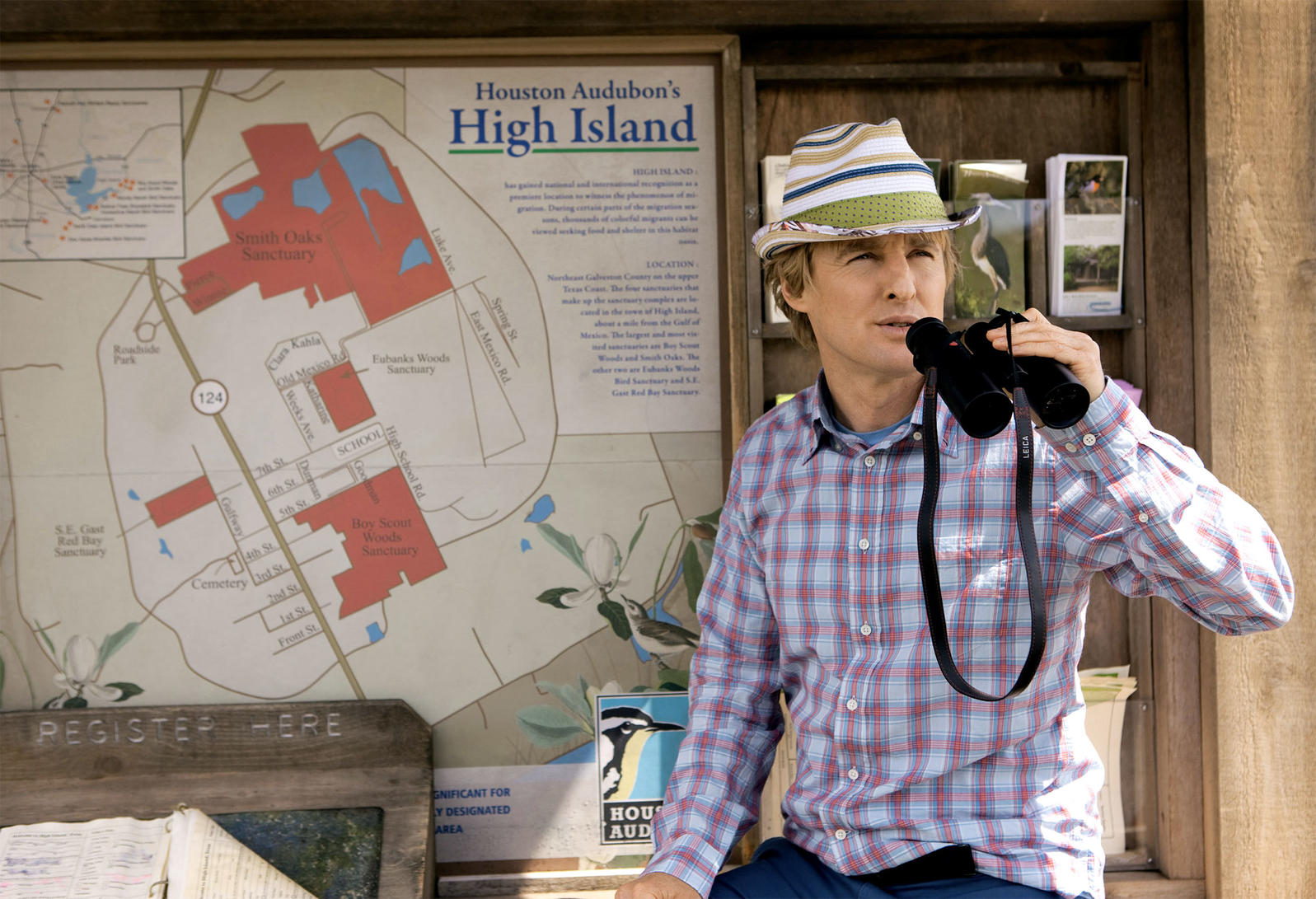 Actor Owen Wilson at Houston Audubon's High Island, a birding hotspot, in The Big Year (2013). AF Archive/Alamy