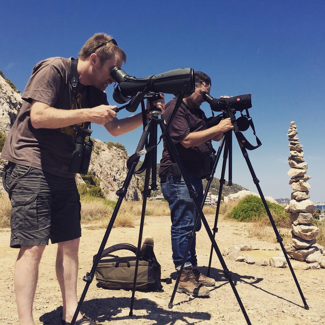 Gorka and Ricard scope for birds. Noah Strycker