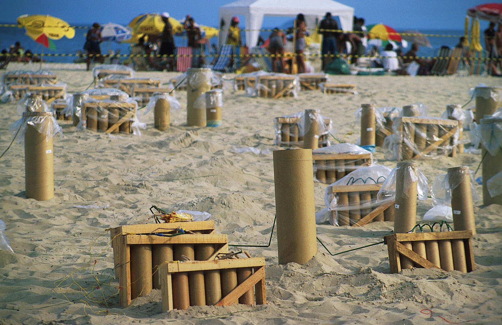 Fireworks being prepped for a show on the beach. Caro Strasnik/Alamy