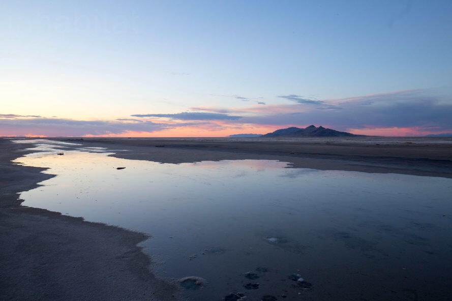 Sunset on drying lakebed of Great Salt Lake