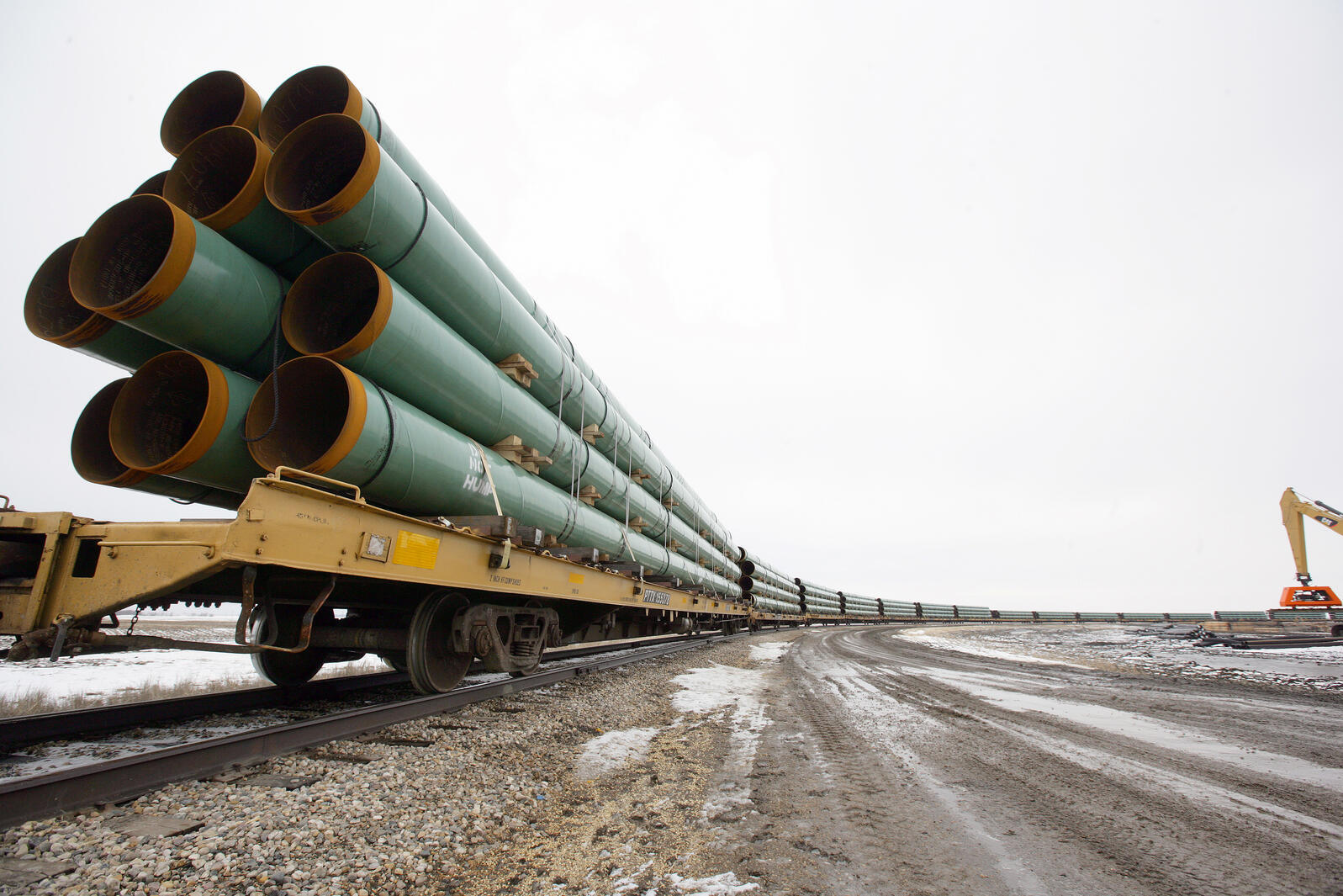New pipe at the ready in Milton, North Dakota. Photo by Eric Hylden/Grand Forks Herald