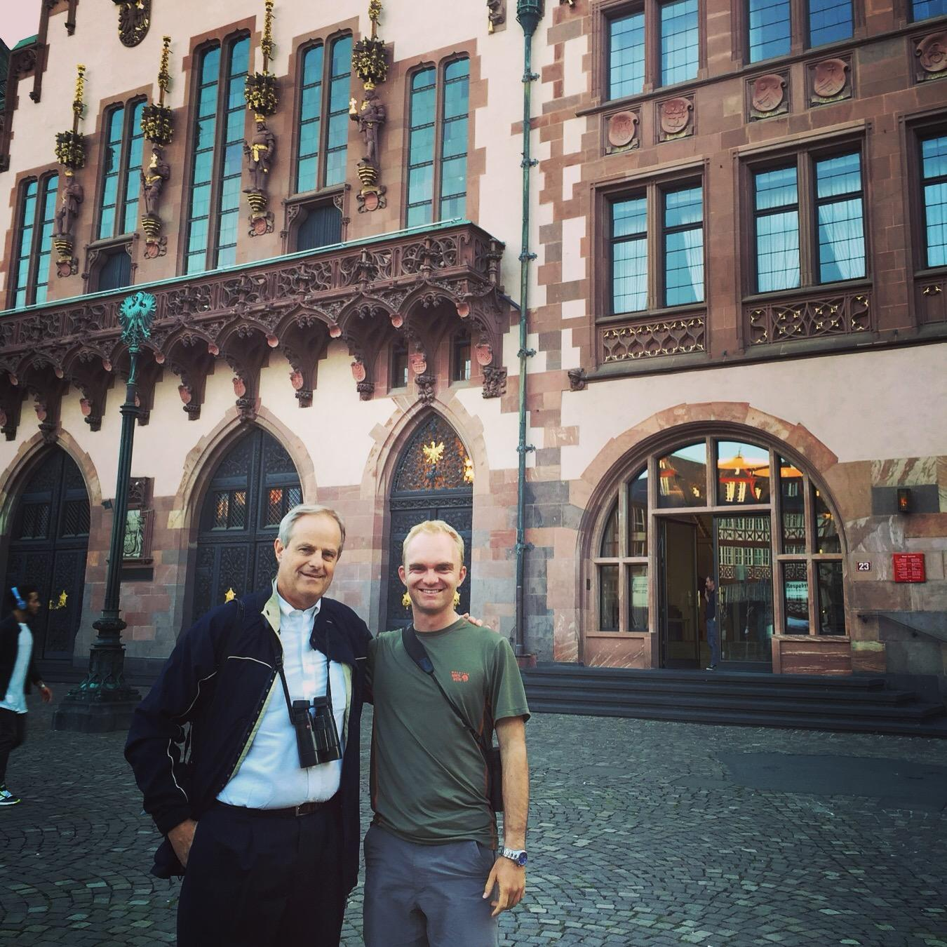 Peter Kaestner and Noah pause outside the Romer building in Frankfurt. Noak Strycker