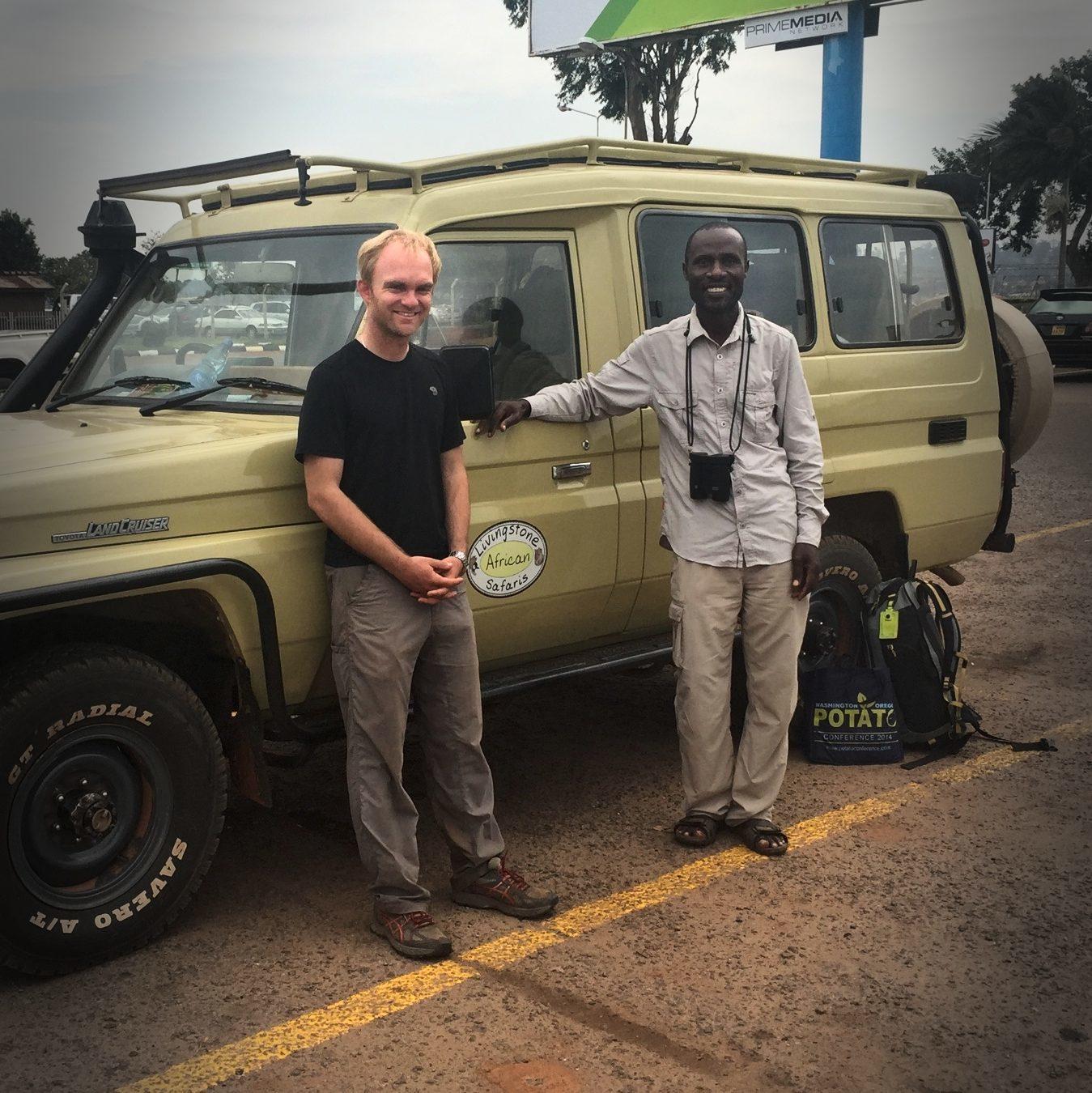 Noah and Livingstone in Entebbe. Noah Strycker