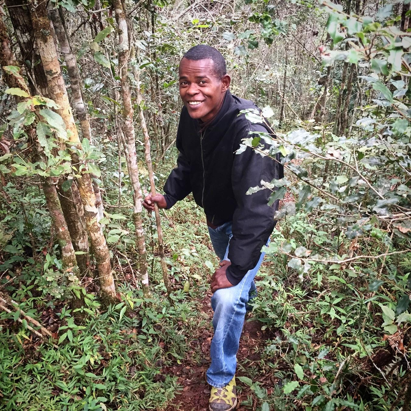 Genot takes a breather in the Saha Forest. Noah Strycker