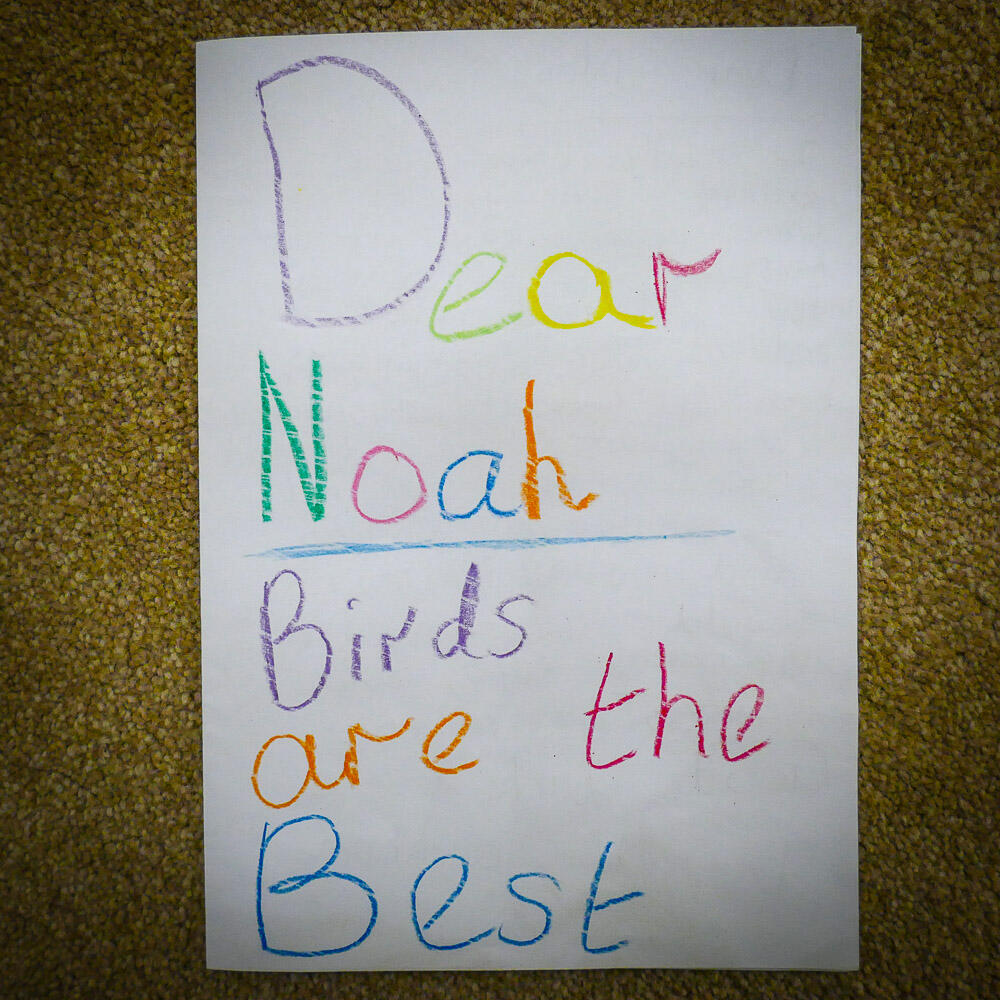 A welcome card from a young South African birder. Noah Strycker