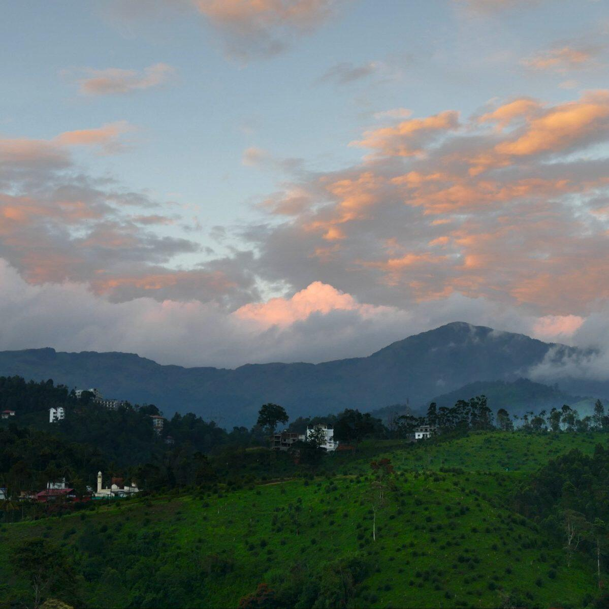 Sunset over the Western Ghats mountains. Noah Strycker