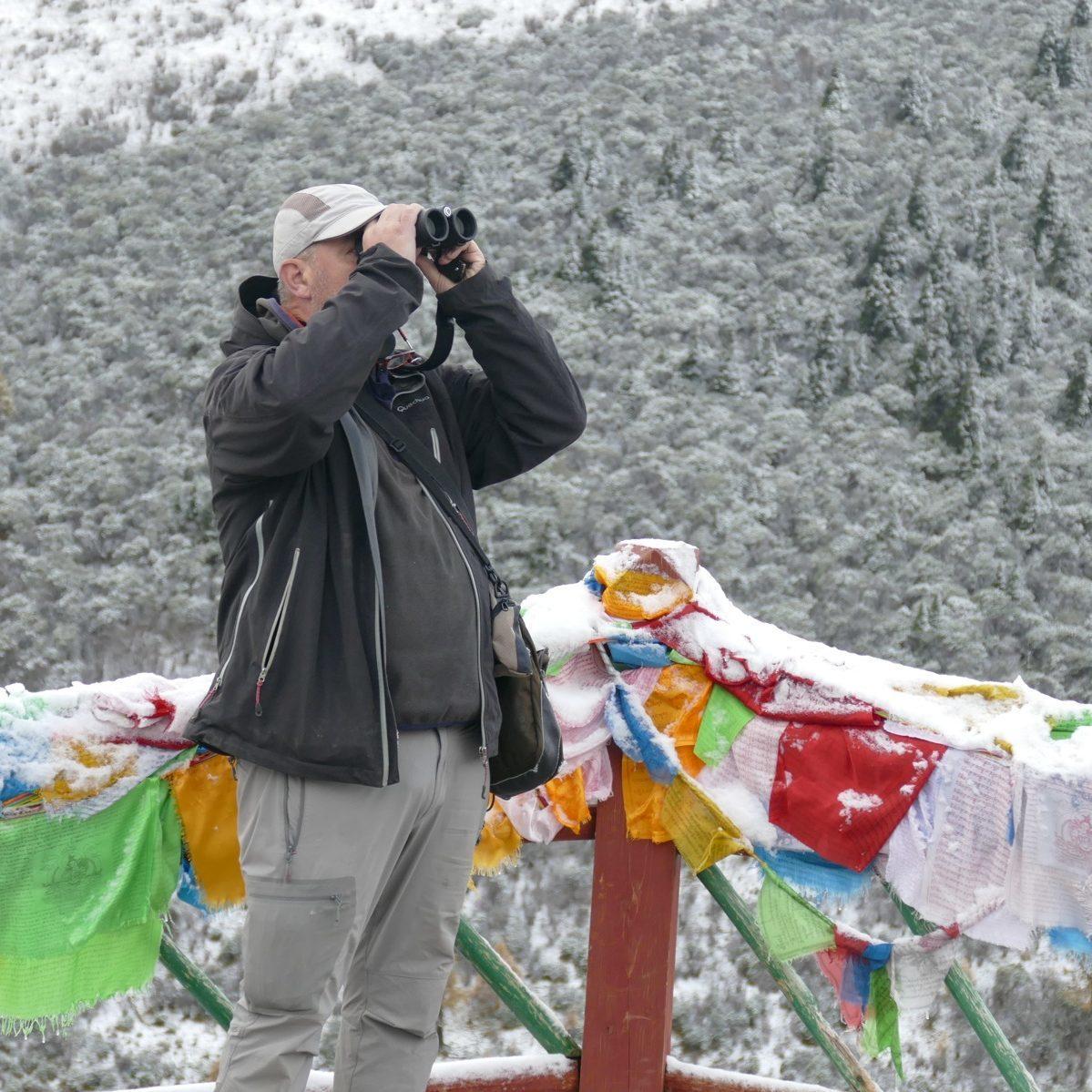 Sid scans for birds at Mengbi Shan Pass. Noah Strycker