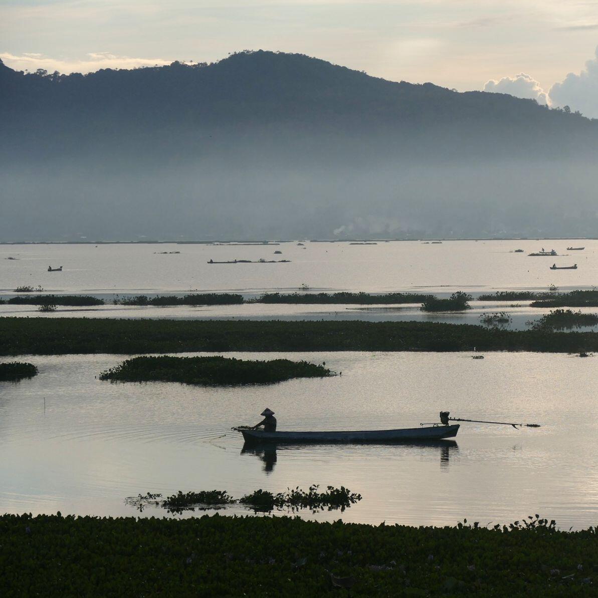 A fisherman plies his trade near sunrise. Noah Strycker