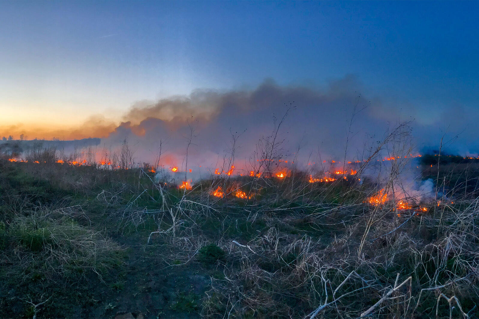 Sun sets on a prescribed burn in Nebraska. Burn crews are able to contain a prescribed burn accurately and consistently within the targeted area. Ed Hubbs