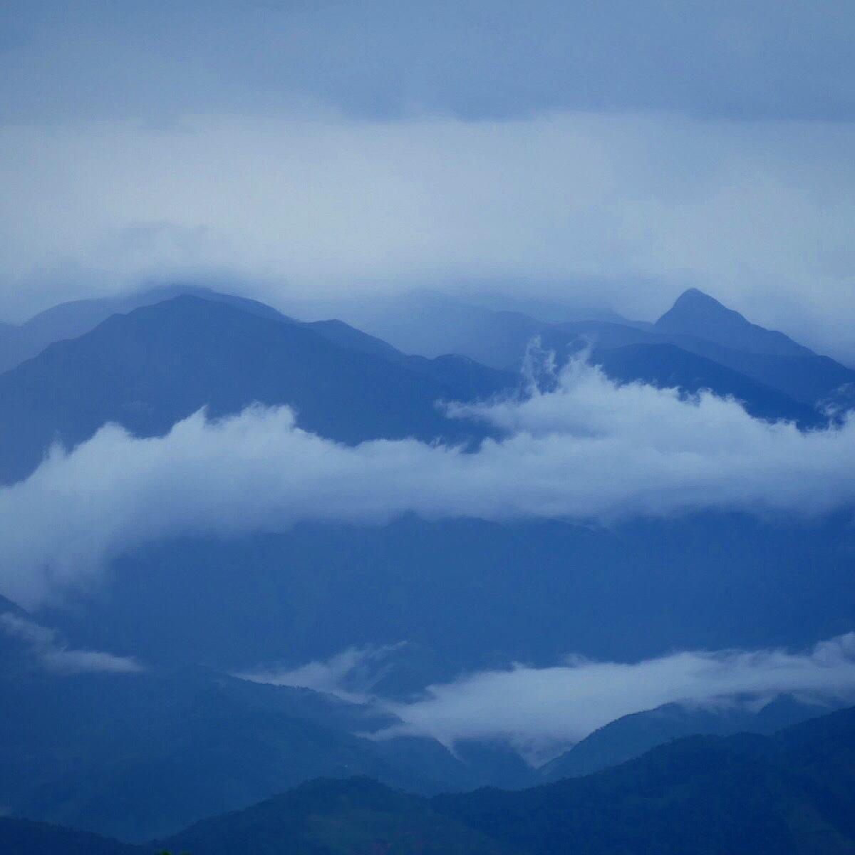 Mountains recede into the distance during a misty morning at the upper end of Montezuma Road. Noah Strycker