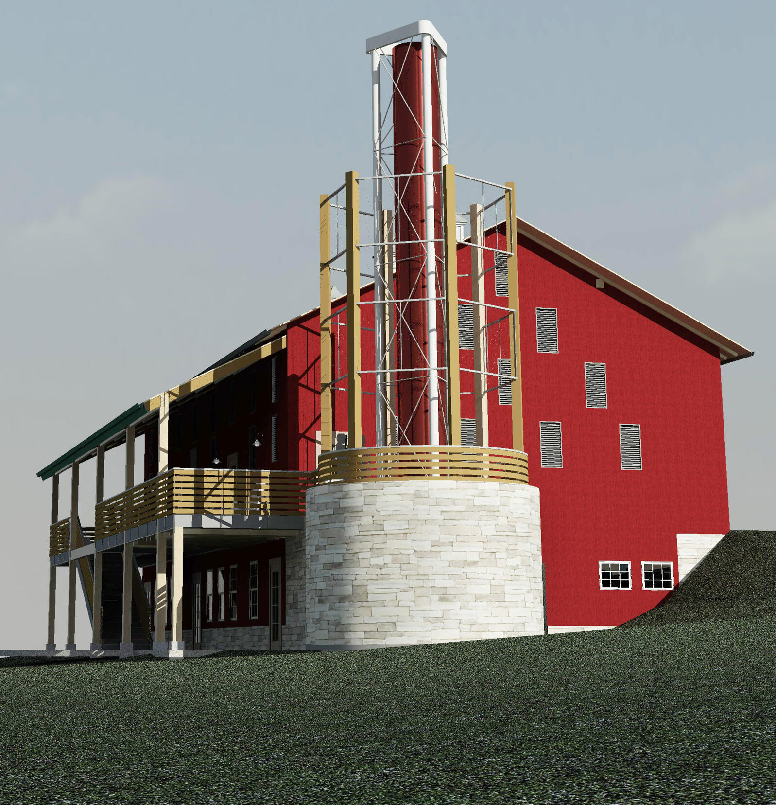 Barn renovation at Succop Nature Park featuring 40-foot vertical-axis WindStax wind turbine. Courtesy of Moshier Studio