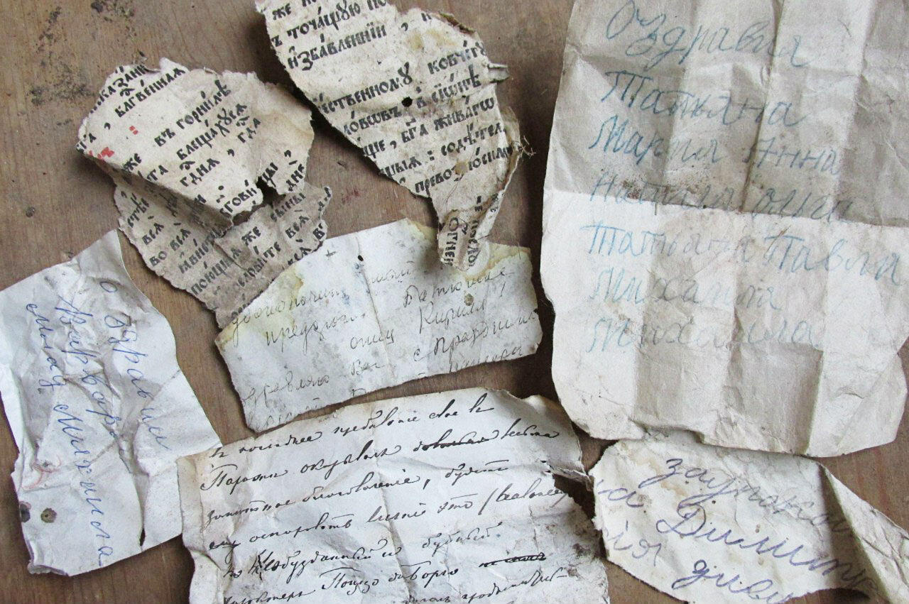 Scraps of notes and letters, some dating back centuries, were discovered in birds' nests. Courtesy of Zvenigorod Historical and Architectural Museum