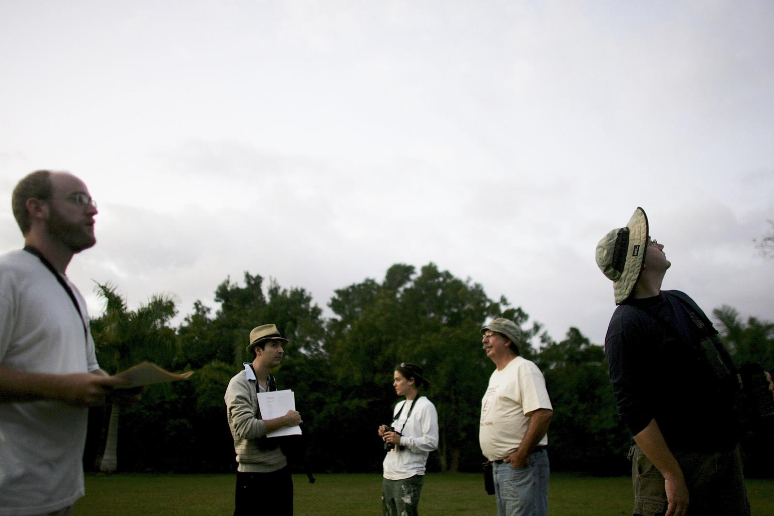 Christmas Bird Count participants looking and listening for birds in Florida's Everglades National Park. Joe Raedle/Getty Images