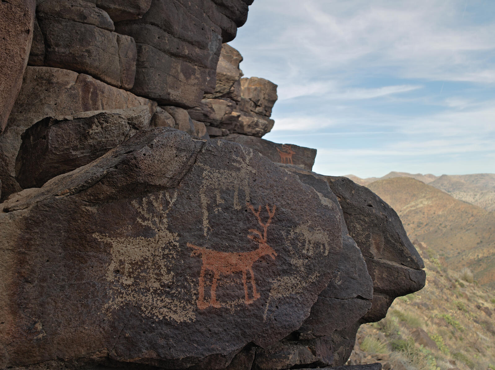 Prehistoric rock art adorns the cliff wall just below one of the pueblos on Perry Mesa. The red deer was painted with mineral pigments containing iron. Photograph by Mark Klett