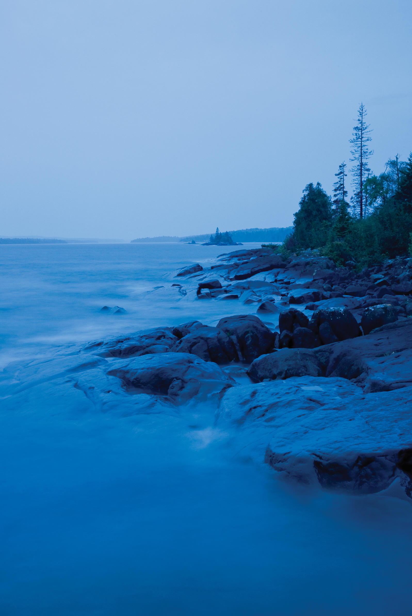 Twelve-mile-long Rock Harbor, on the island's eastern end, on a gray day in September. Per Breiehagen