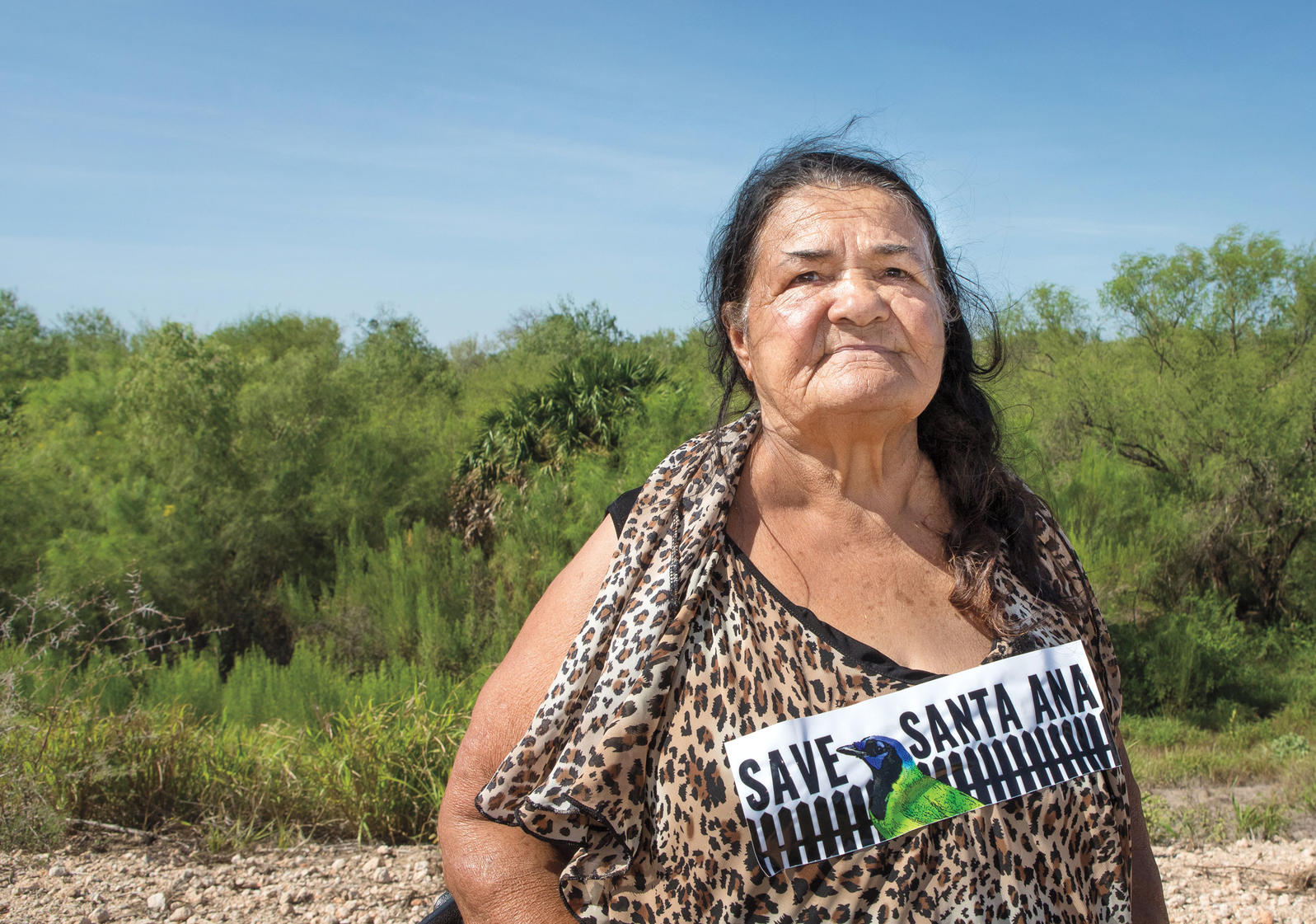 On August 13, Rio Grande Valley resident Zulema Hernandez joined anti-wall protesters in Texas's Santa Ana refuge. Krista Schlyer