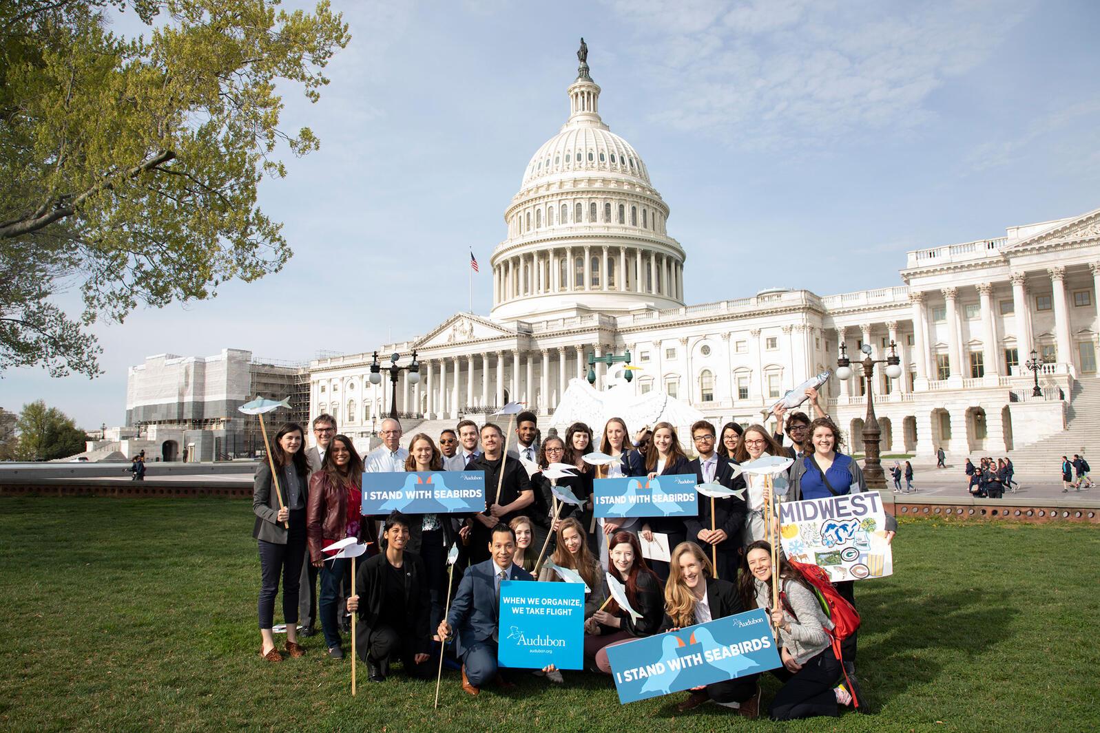 Audubon staff and members lobby on behalf of seabirds and forage fish at the U.S. Capitol. Luke Franke/Audubon