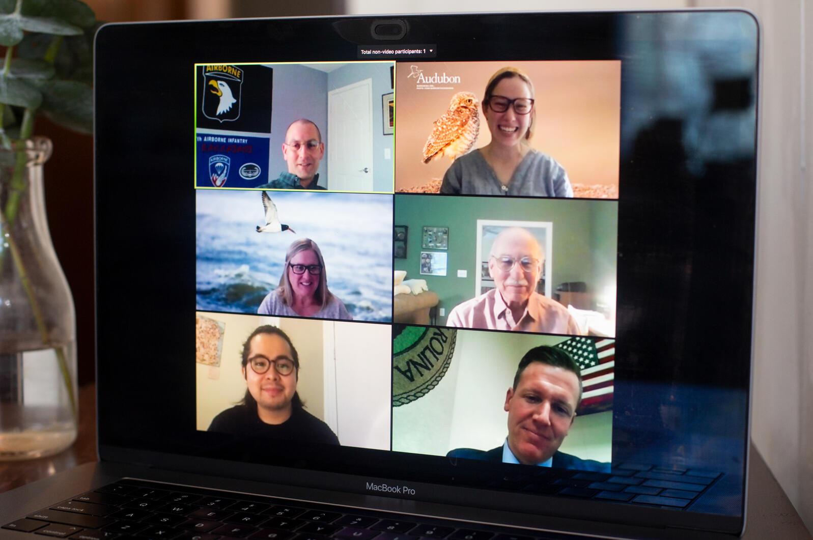 Volunteers with Audubon North Carolina, including Todd Kilb, top left, and Megan Damico, top right, speak with Senator Michael Garrett, bottom right, during the Audubon North Carolina Virtual Advocacy Day. Luke Franke/Audubon