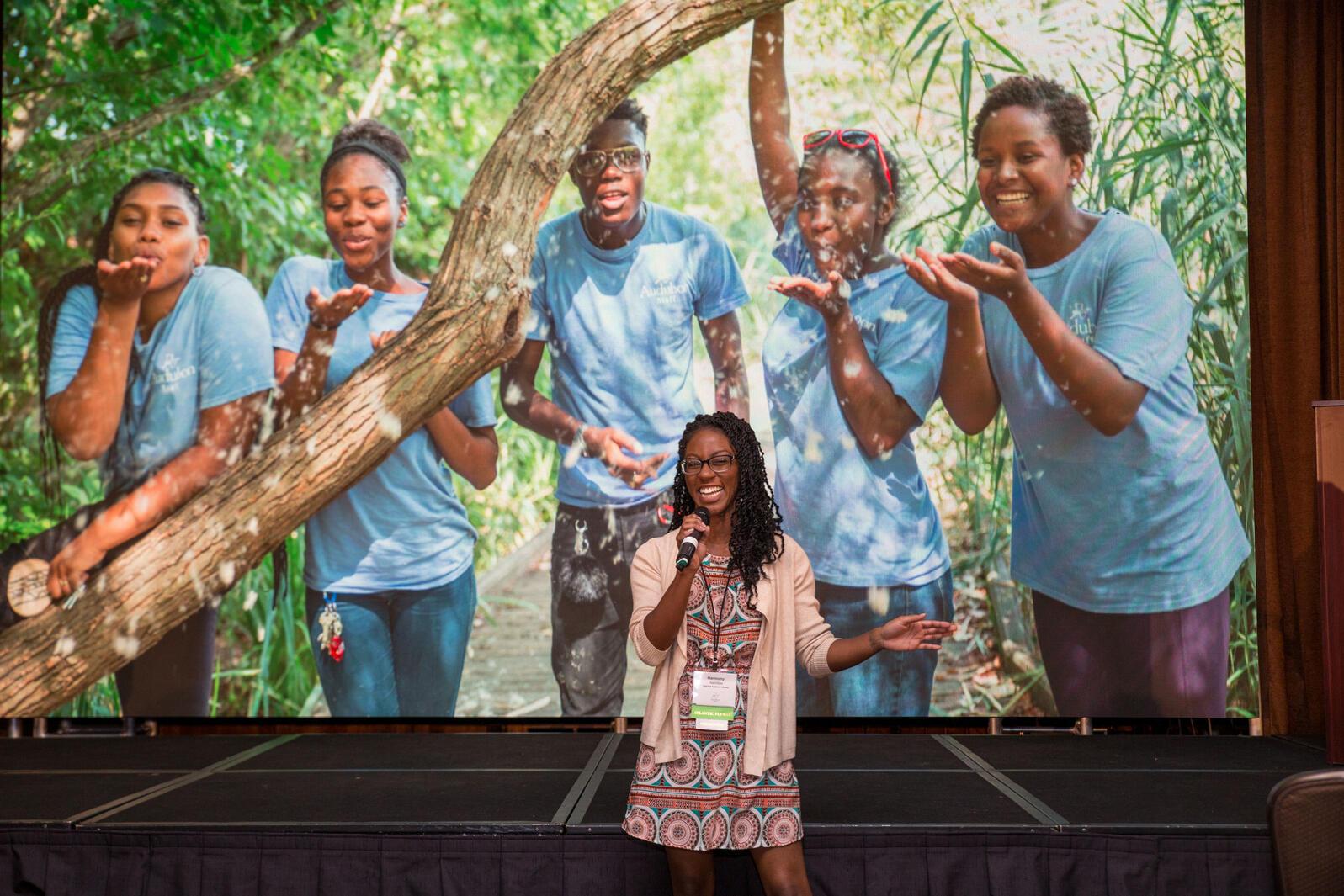 Harmony Hamilton speaks about her experiences as a storyteller in the 2017 Audubon Convention. Camilla Cerea/Audubon