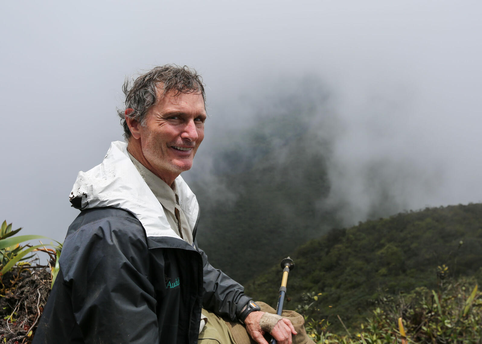 A smiling David Ford seen after hiking to the top of Mount Ayanganna in western Guyana, South America with fellow Audubon board member Holt Thrasher (not pictured). Courtesy of Holt Thrasher