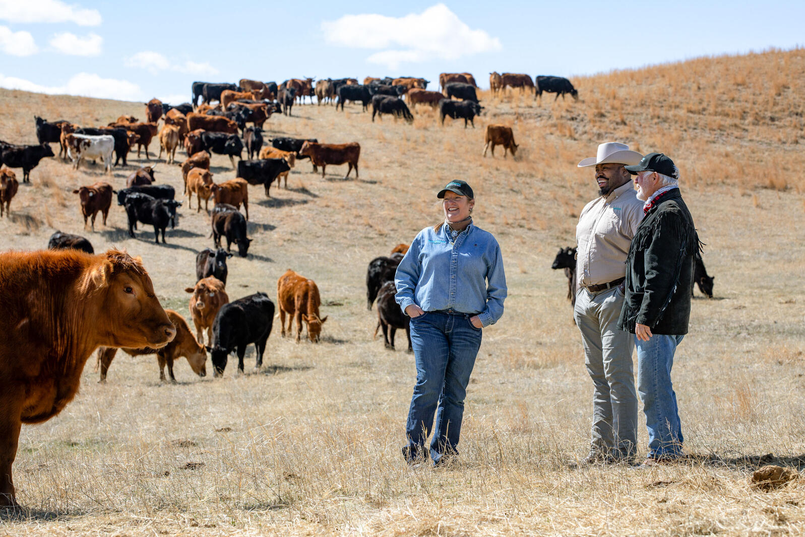 Marshall Johnson, center, and Kay Cornelius meet with Panorama rancher Dave Hutchinson on his Nebraska ranch. Wyatt DeVries