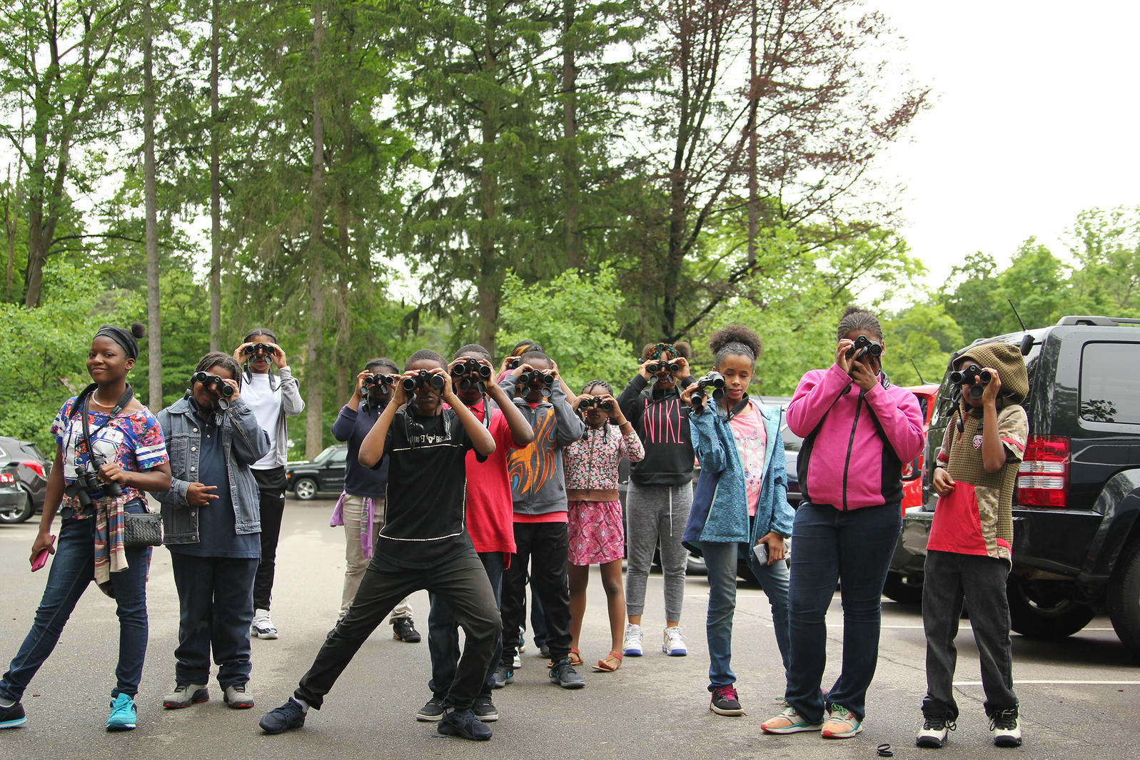Students from Burns Middle School prepare to go on a Wild Indigo bird walk guided by Detroit Audubon staff at Cranbrook House and Gardens. Eileen Solange Rodriguez/Audubon