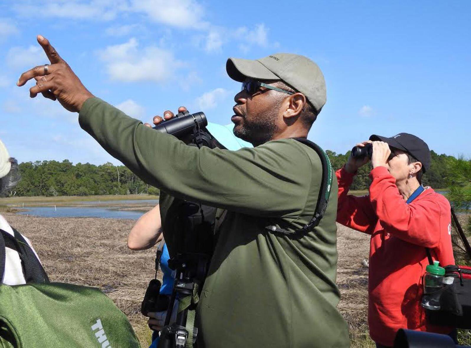 J. Drew Lanham leading a birding tour. Courtesy of J. Drew Lanham