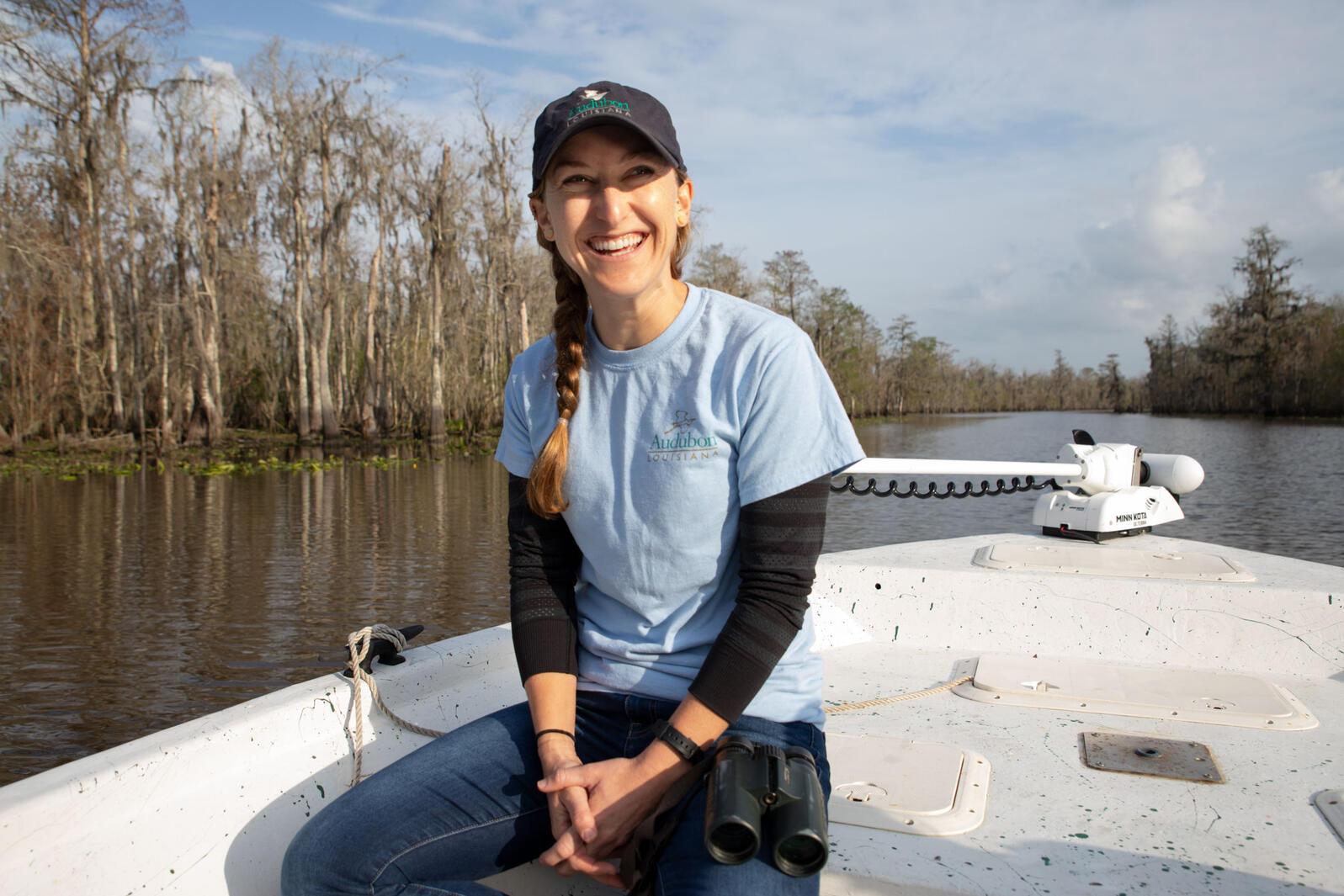 Katie Percy travels through Maurepas Swamp Wildlife Management Area in Laplace, Louisiana. Dominic Arenas/Audubon