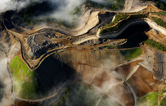 SCARFACE Skimming above a devastated Appalachian landscape, a photographer zooms in on the damage wrought from mountaintop coal mining. Photograph by Cameron Davidson