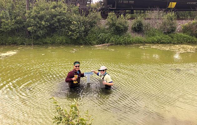 Servando Moreno, left, and Julia Roedel install a water gauge at Indian Ridge Marsh in Chicago. Teri Valenzuela/Audubon Great Lakes